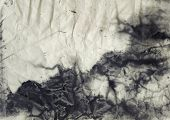 stock photo of acrylic painting  - Abstract black and white ink painting on grunge paper texture - JPG