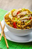 foto of crispy rice  - Chicken curry rice with crispy chinese omellete chinese chopsticks - JPG