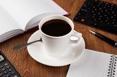 pic of peppy  - business still life with cup of black coffee on desktop - JPG
