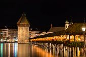 foto of chapels  - Panoramic view of wooden Chapel bridge and old town of Lucerne - JPG