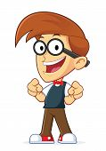 stock photo of dork  - Clipart Picture of a Nerd Geek Cartoon Character Pointing Finger point - JPG
