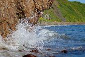 stock photo of sakhalin  - Sea and rock fighting - JPG