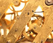 foto of wind up clock  - Close up of a internal clock mechanism