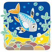 picture of x-ray fish  - Children vector illustration of funny little x - JPG