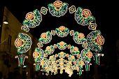 stock photo of patron  - Patronal festival with illuminations along the way - JPG