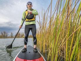 image of cattail  - senior paddler in life jacket enjoying stand up paddling on lake - JPG