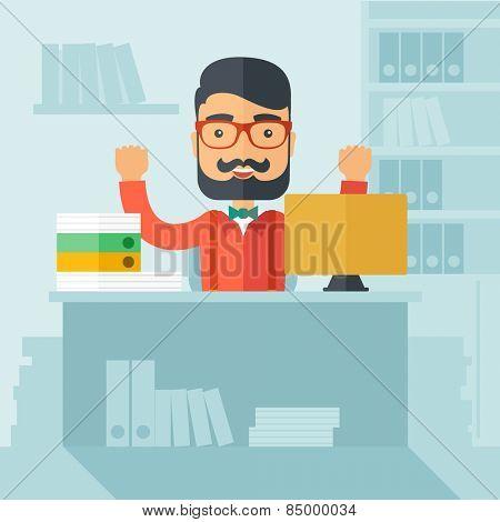 Successful office clerk.