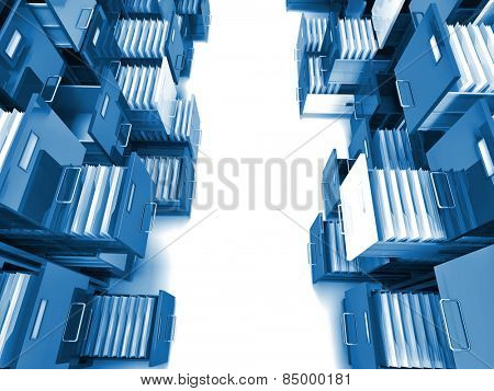 3d image of colorful file cabinet