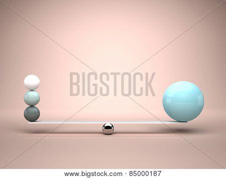 3d image of balls in falsa balance