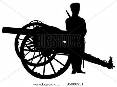 Silhouette of antique guns and a soldier on a white background
