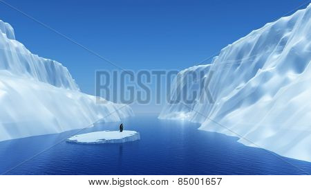3D render of a penguin on a floating iceberg
