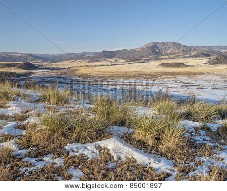 mountain valley at Colorado foothills - Red Mountain Open Space near Fort Collins, winter scenery