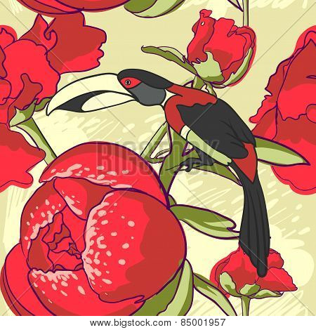Seamless floral background with peonies bird toucan