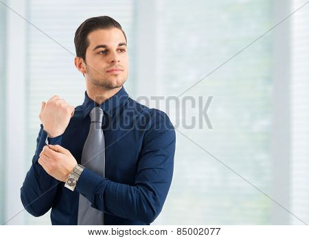 Portrait of a young handsome business man adjusting his shirt
