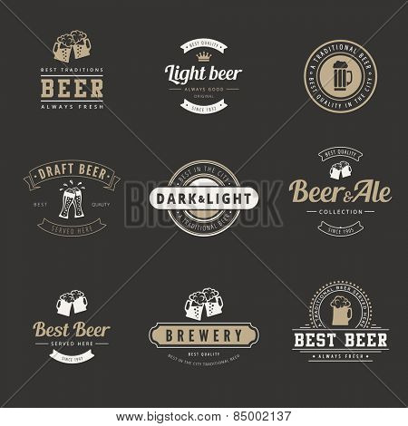 Hipster Logo Retro design vector typography lettering templates.  Beer Vintage Labels such as logotype.