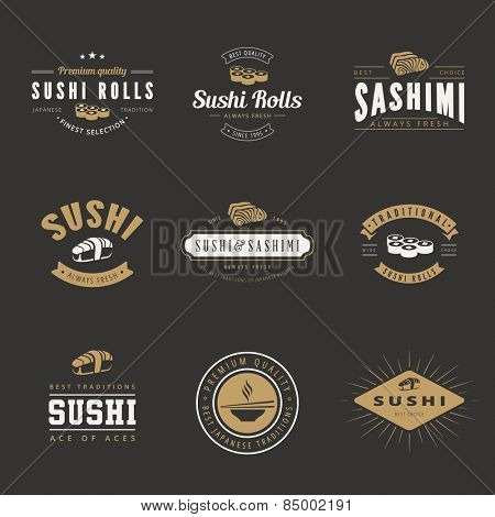 Sushi Rolls Sashimi Retro Vintage Labels Hipster Logo design vector typography lettering templates.  Old style elements, logos, logotypes, label, badges and symbols for Japanese restaurants & Cafe