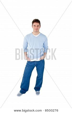 Charismatic Young Man Against White Background