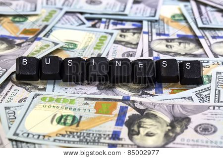 text on a background of money