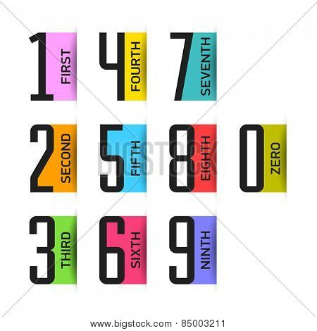 Bright numbers set. Vector.