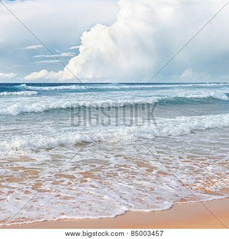 waves sea and yellow sand
