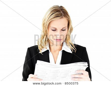 Anxious Businesswoman Holding A Newspaper