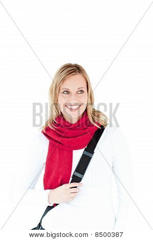 Happy Woman Wearing Red Scarf Smiling At The Camera