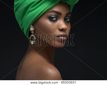 Beautiful african woman in the studio