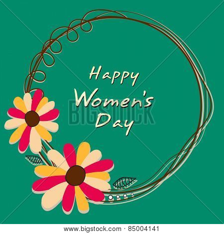 International Women's Day celebration with flowers decorated frame on green background.