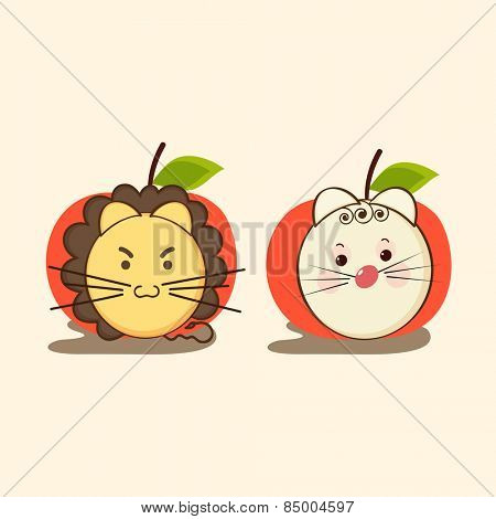 Cute little faces of Lion and cat in apple shaped frame.