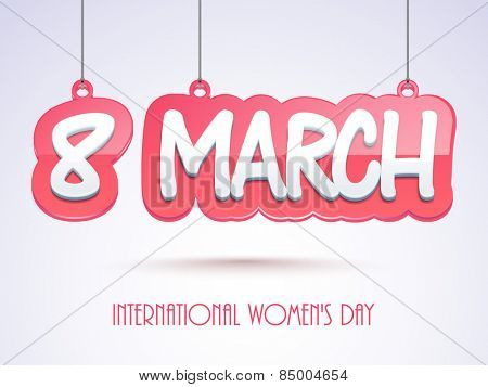 Glossy hanging text 8 March on purple background for International Women's Day celebration.