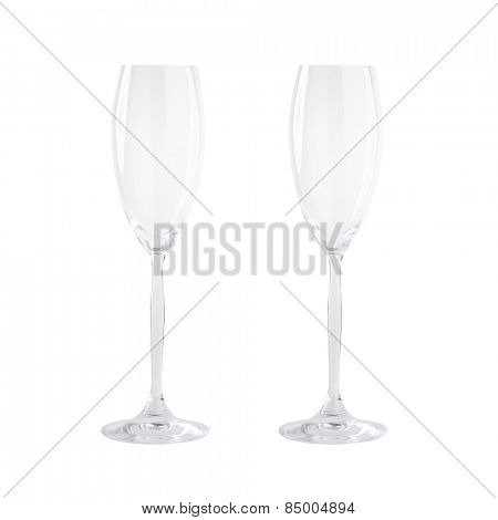 Isolated Empty champagne glasses on white background
