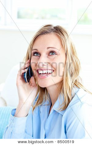 Delighted Businesswoman Talking On Phone