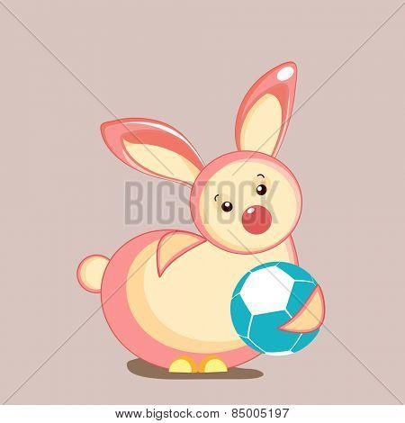 Cute little rabbit holding blue ball.