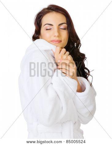 Young girl with bathrobe isolated