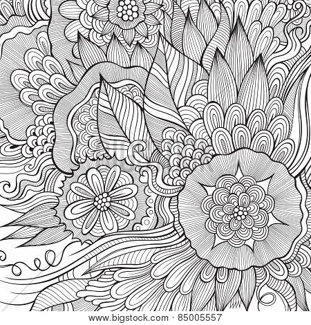 Vector abstract flowers sketch background