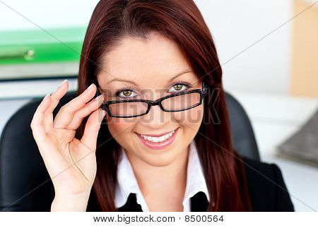 Assertive Businesswoman Wearing Glasses