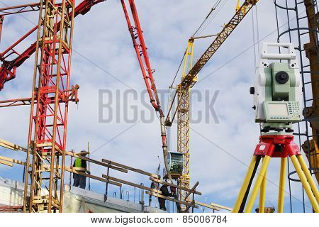 surveying and construction cranes