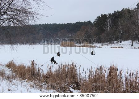 Fishermen In The Winter Fishing