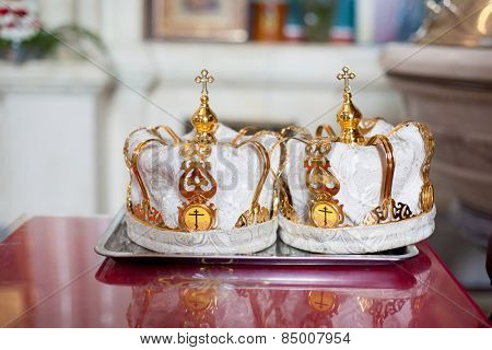 Two ceremonial crowns as orthodox wedding accessories