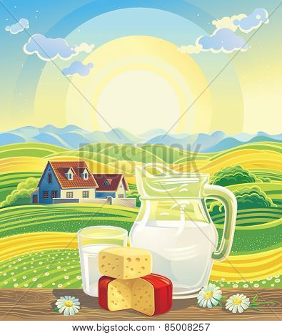 Sunny summer landscape with a still life of dairy products.