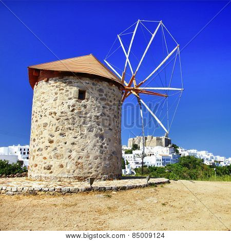 windmills of Greece - Patmos island, view with monastery