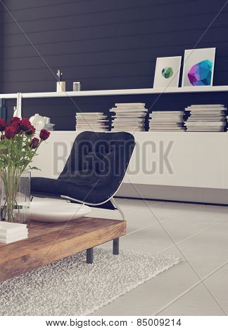 Homely 3d living room interior decor with a comfortable chair for relaxation, flowers and a cabinet with books and pictures against a black wall over a white floor and rug. 3d Rendering.