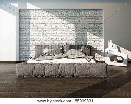 Close up of a large king size bed in a sunny bedroom with rumpled bed linen against a textured white brick wall, neutral tones. 3d Rendering.