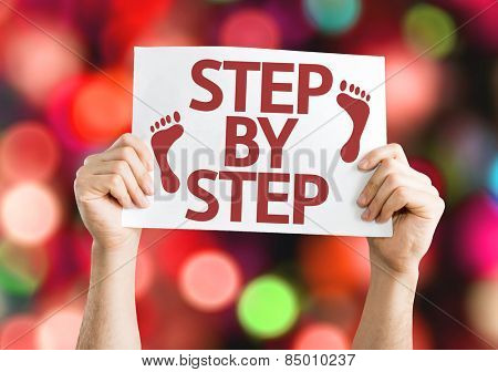 Step By Step card with colorful background with defocused lights