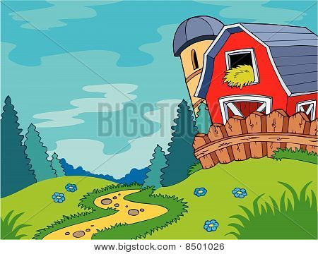 Country landscape with barn