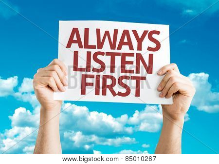 Always Listen First card with sky background