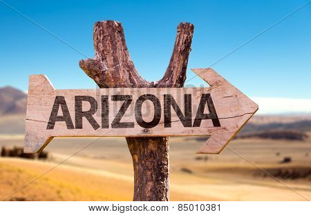 Arizona wooden sign with a desert background