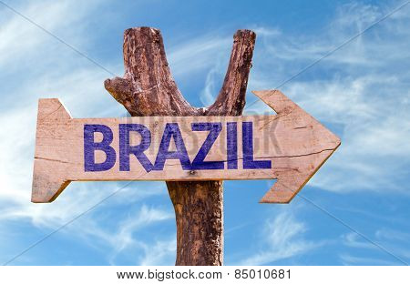 Brazil wooden sign with sky background