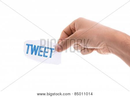 Tweet piece of paper isolated on white background