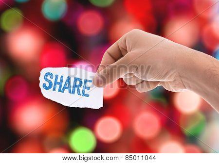 Share piece of paper with bokeh background